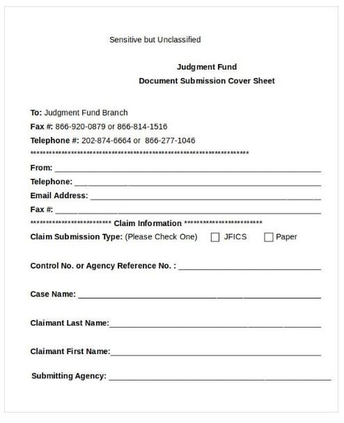 Document Fax Cover Sheet Template