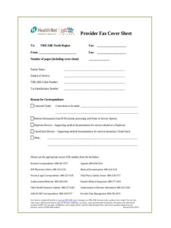 PROVIDER FAX COVER SHEET EXAMPLE