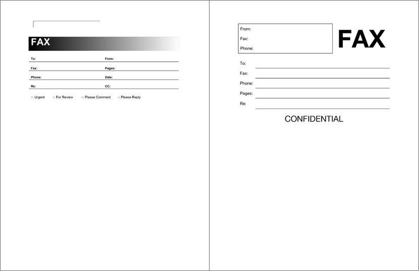 Fax Cover Sheet Examples