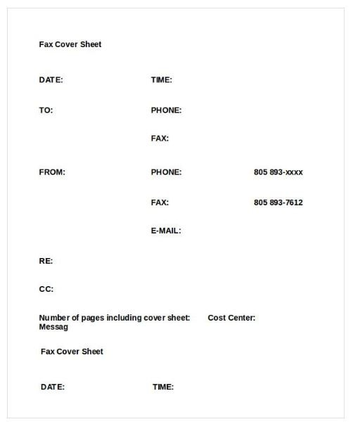 Basic Fax Cover Sheet Word Template