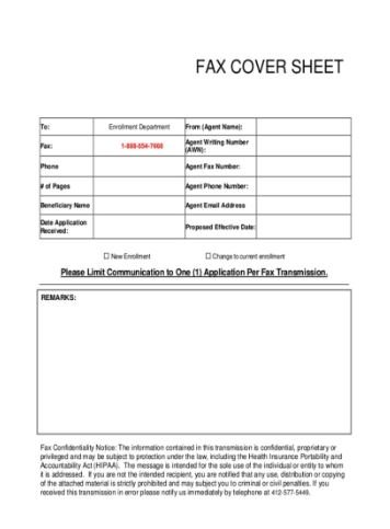 BENEFICIARY FAX COVER SHEET