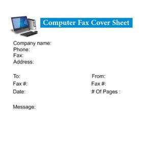 Computer Fax Cover Sheet