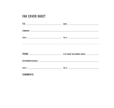DEPARTMENT FAX COVER SHEET