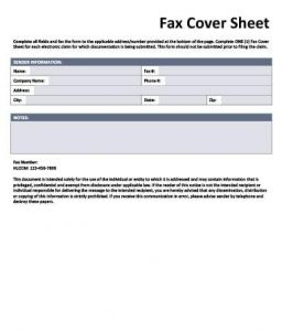 e-claim fax cover sheet