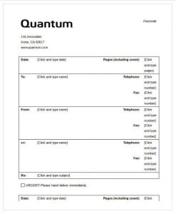 Quantum Fax Cover Sheet Word Template