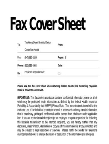RETURN FAX COVER SAMPLE SHEET