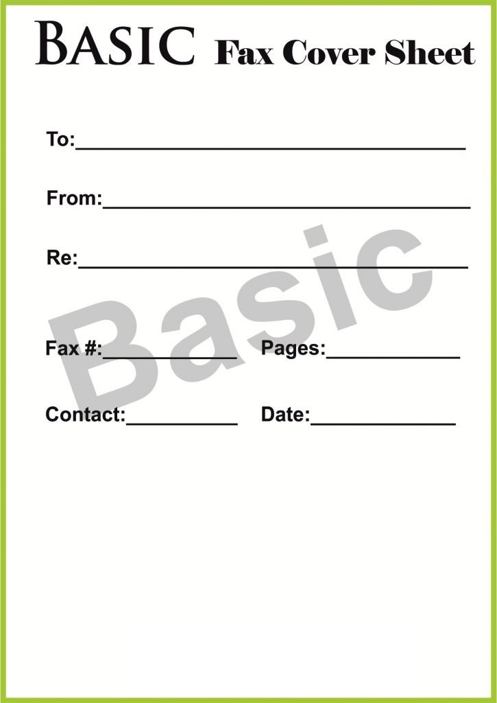 The format of Basic Fax Cover Sheet
