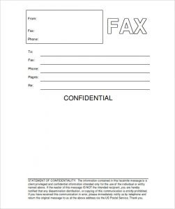 Confidential Fax Cover Sheet Word Example