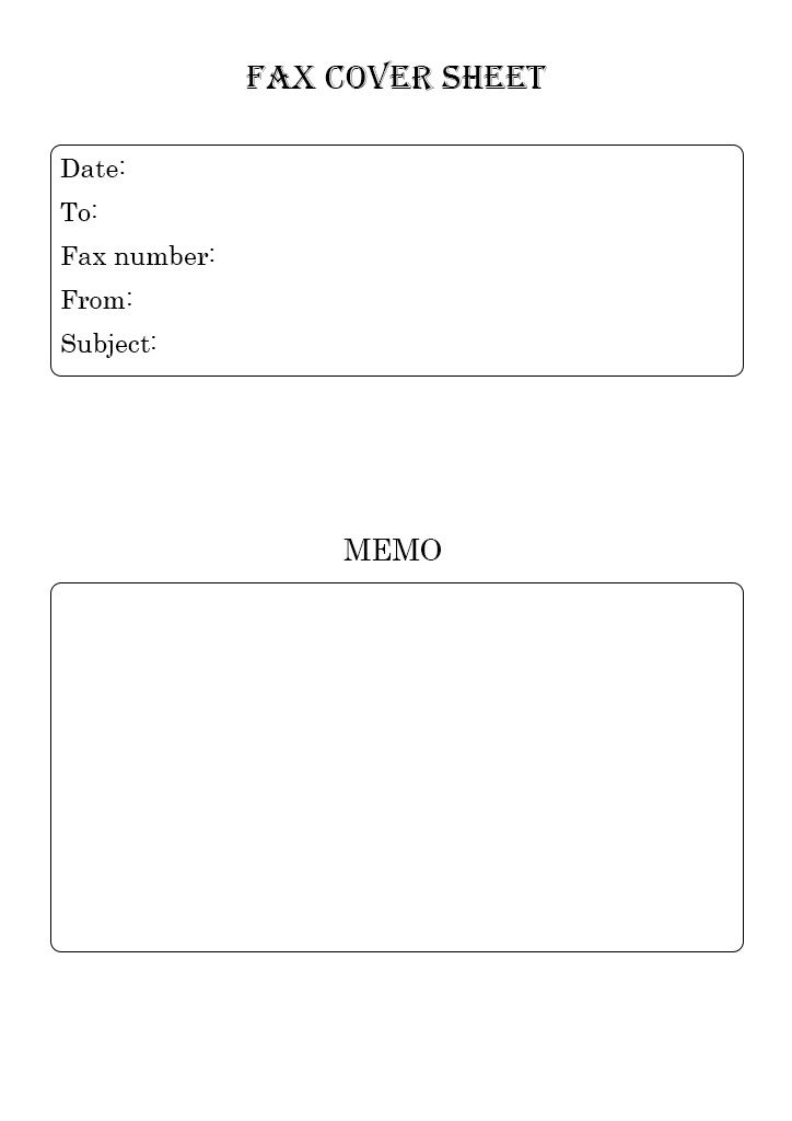 Printable standard fax cover sheet