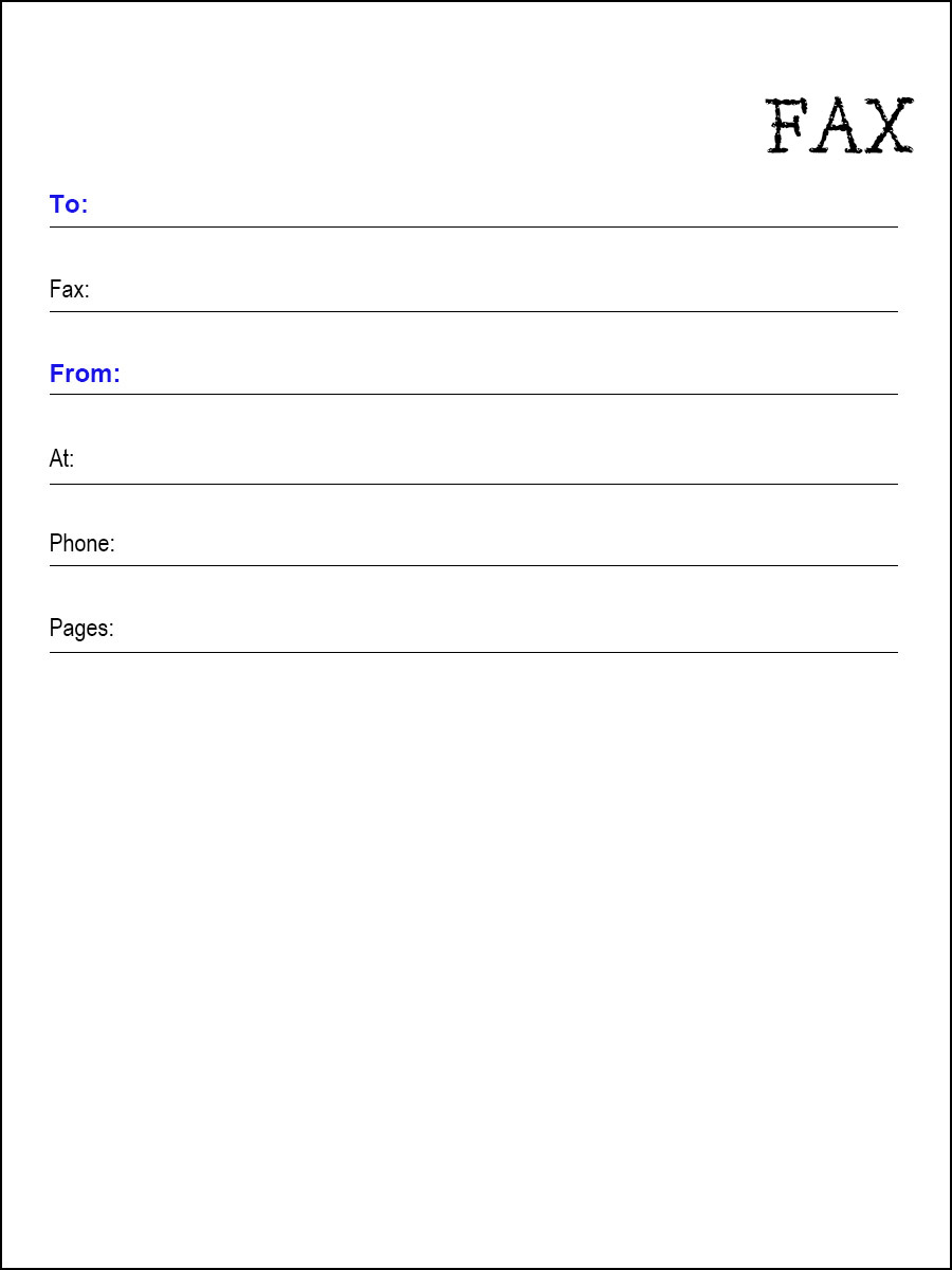 fax cover sheet word template